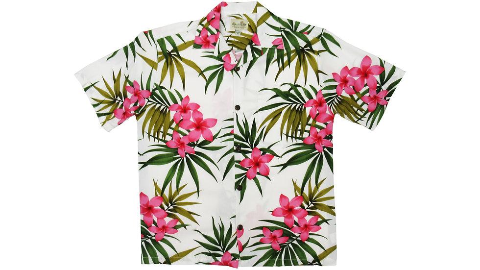 Rayon 100% White Plumeria Aloha Shirt [RH-01]