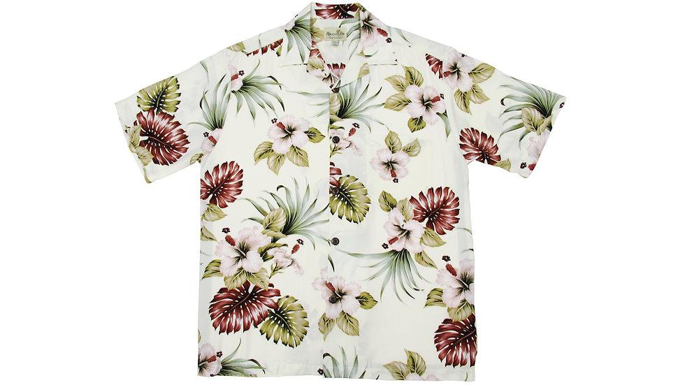 Rayon 100% Beige Aloha Shirt [RH-05]