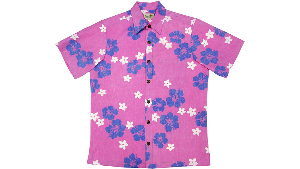 Y-Placket Cotton 100% Pink Aloha Shirt [YH-09]