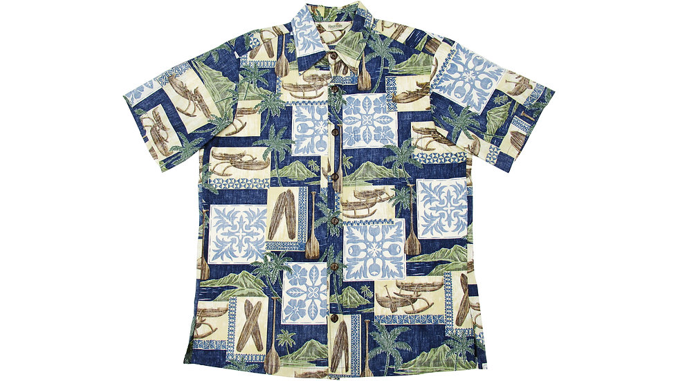 Y-Placket Cotton 100% Blue Aloha Shirt [YH-02]