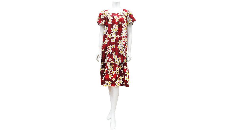 [#21006]Cotton 100% Plumeria Short Zipper Muu Muu [CH03]
