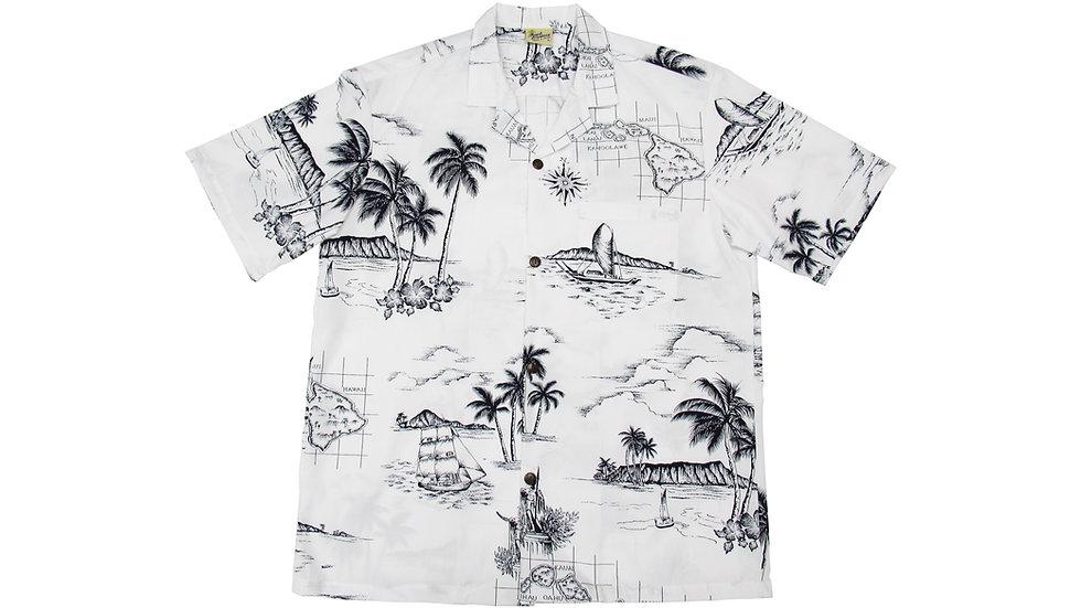 Poly-Cotton White Map Aloha Shirt [T-06]