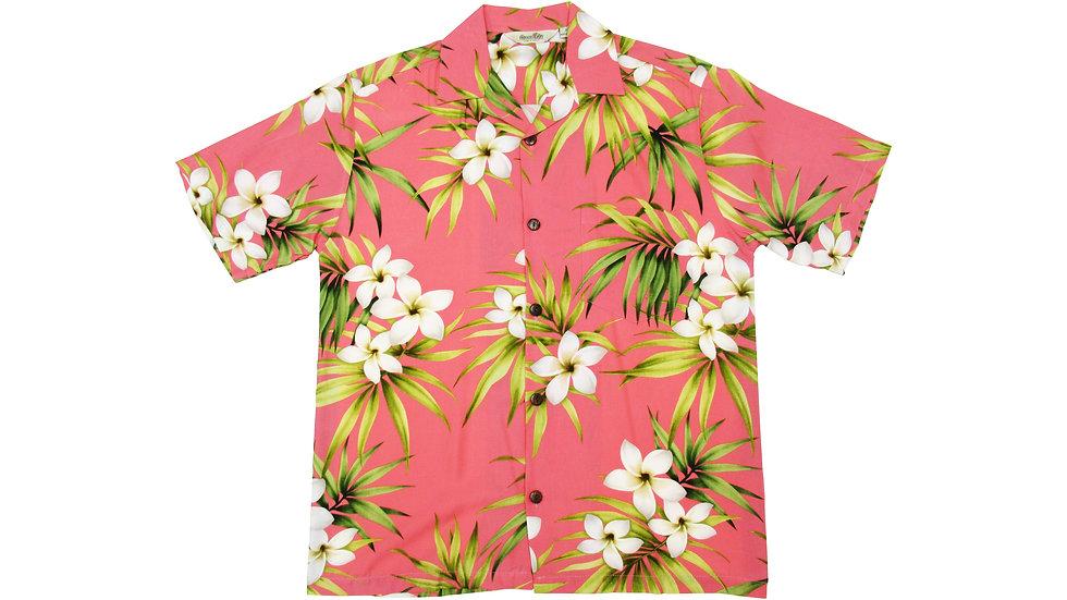 Rayon 100% Pink Plumeria Aloha Shirt [RH-01]
