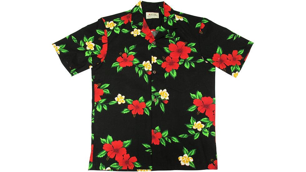 Cotton 100% Black Hibiscus Aloha Shirt [CH-01]
