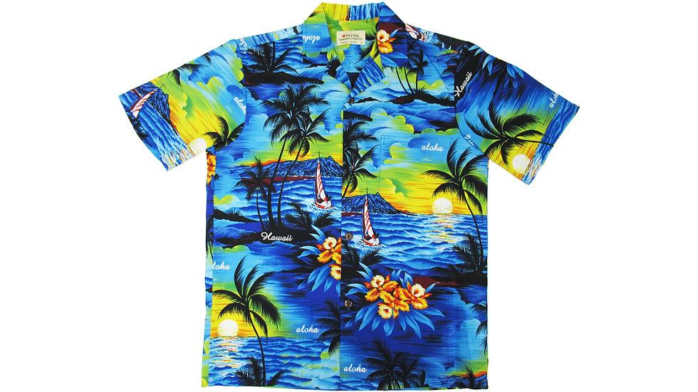 Cotton 100% Blue Palm Tree Aloha Shirt [CH-11]