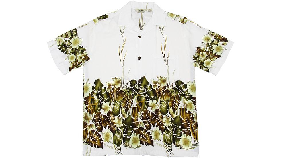 Rayon 100% White Aloha Shirt [RH-07]