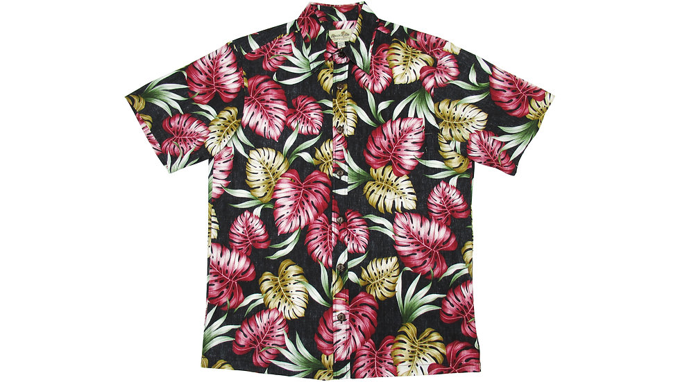 Y-Placket Cotton 100% Black Aloha Shirt [YH-06]