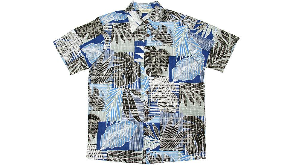 Y-Placket Cotton 100% Navy Aloha Shirt [YH-07]