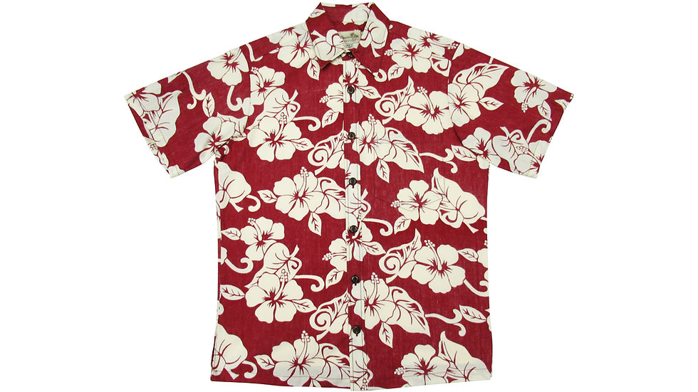 Y-Placket Cotton 100% Red Aloha Shirt [YH-01]