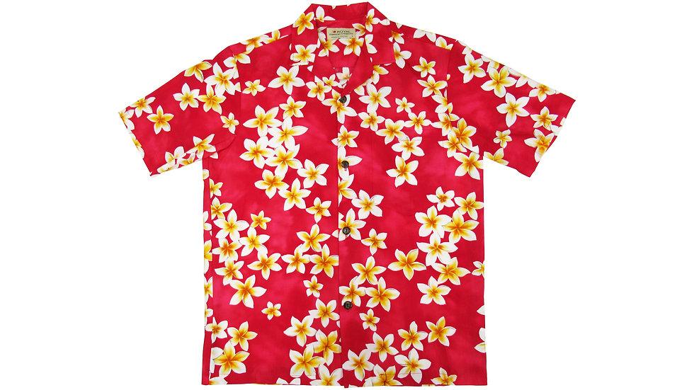 Cotton 100% Pink Plumeria Aloha Shirt [CH-03]