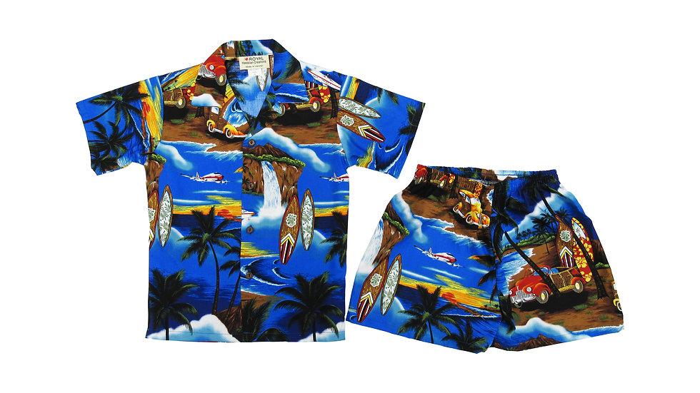 [#32106] Cotton 100% Waikiki Woody Boy's Cabana Set [CH09]