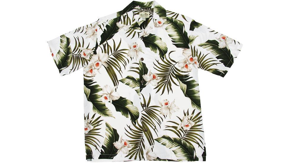 Rayon 100% White Orchid Aloha Shirt [RH-04]