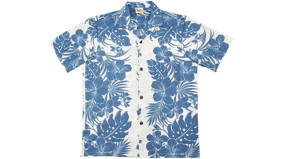 Poly-Cotton Blue Aloha Shirt [T-07]