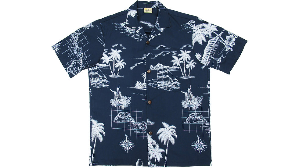 Poly-Cotton Navy Map Aloha Shirt [T-06]