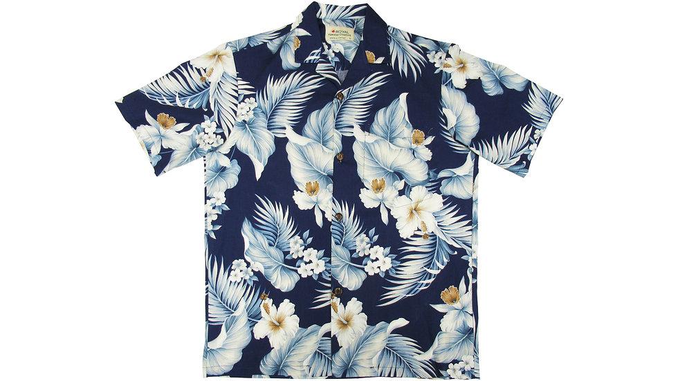 Cotton 100% Navy Aloha Shirt [CH-05]