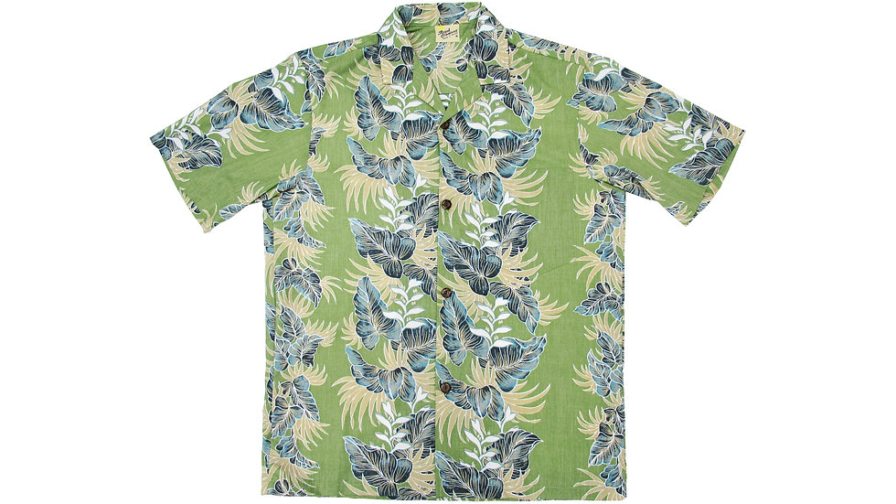 Poly-Cotton Green Aloha Shirt [T-04]