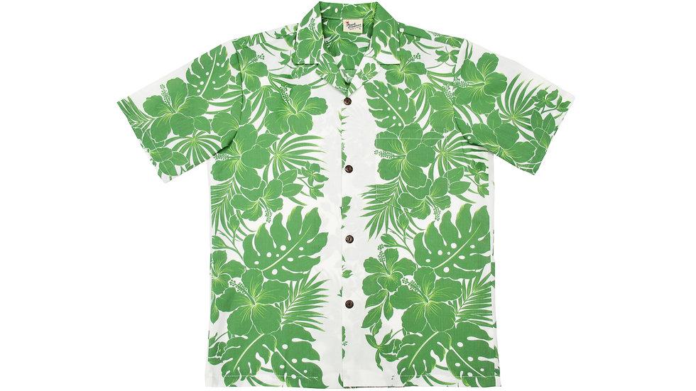 Poly-Cotton Green Aloha Shirt [T-07]