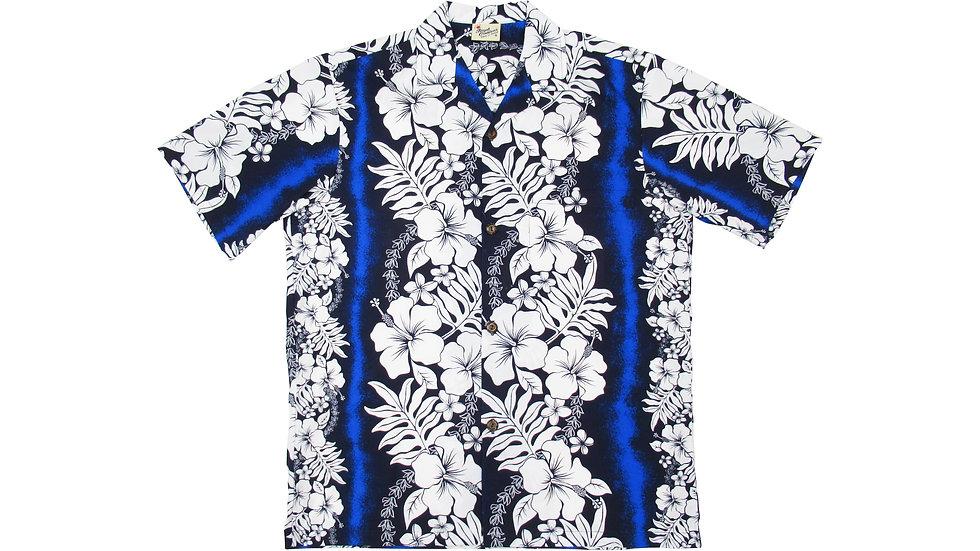 Poly-Cotton Blue Aloha Shirt [T-01]