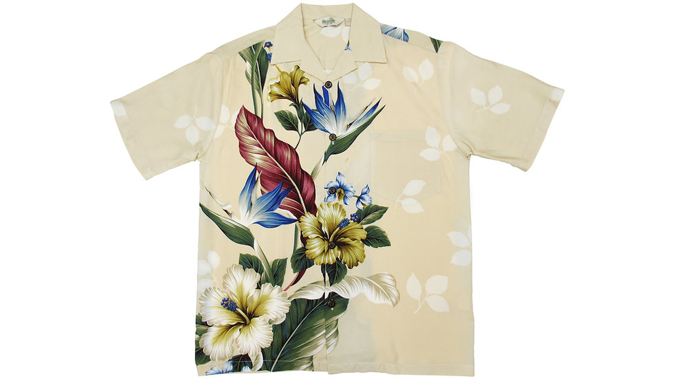 Rayon 100% Beige Side Panel Aloha Shirt [RH-08]