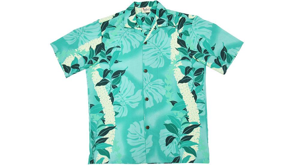 Poly-Cotton Green Aloha Shirt [T-03]