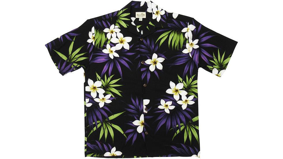 Rayon 100% Black Plumeria Aloha Shirt [RH-01]