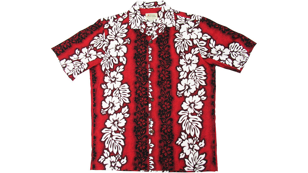 Cotton 100% Red Hibiscus Aloha Shirt [CH-02]