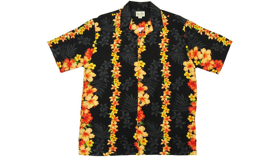 Rayon 100% Black Hibiscus Aloha Shirt [RH-02]