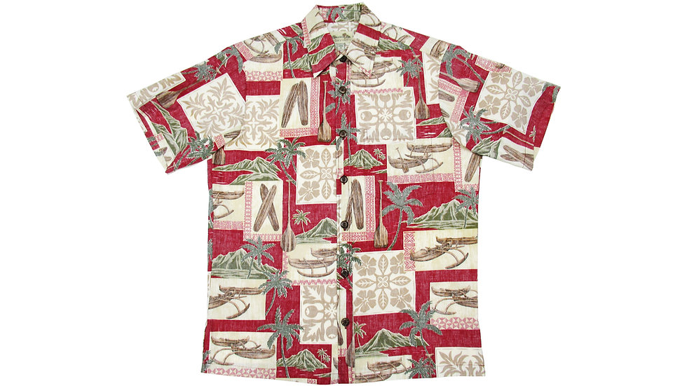 Y-Placket Cotton 100% Red Aloha Shirt [YH-02]