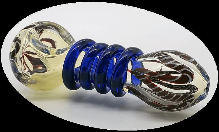Blue Spiral Glass Bowl