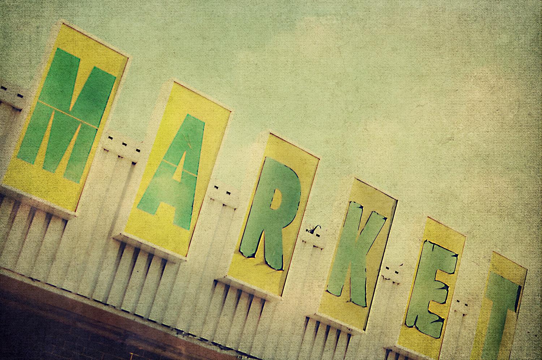 Yellow-Green Market Sign
