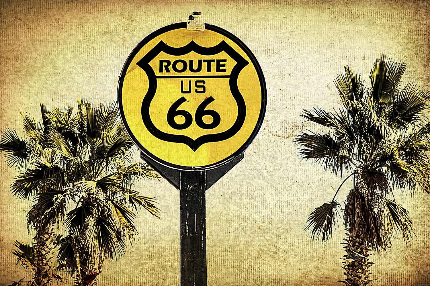 Yellow Route 66 Sign