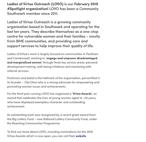 Southwark Council Web Directory Page for LOVO