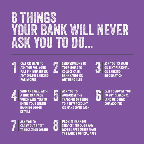 8 Things your bank will never ask you to