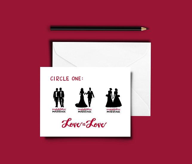 Circle One - LOVE is LOVE Wedding Card - Wedding Card