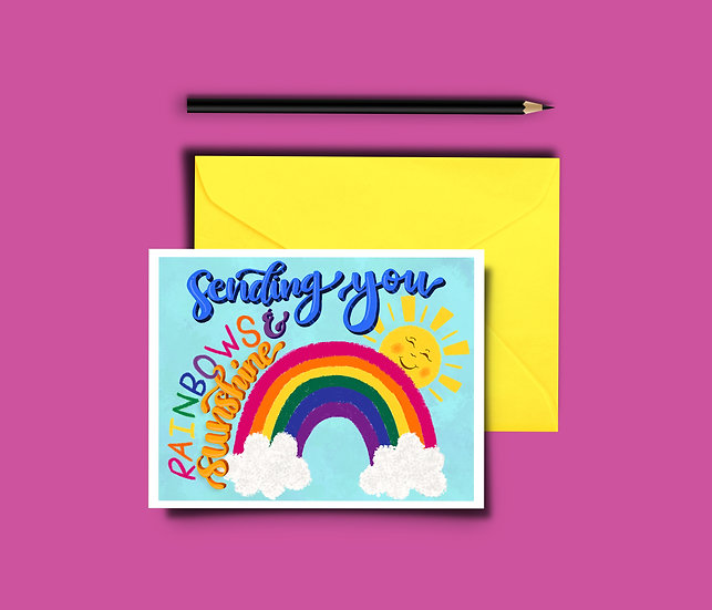 Rainbows and Sunshine Card - Thinking of You Card