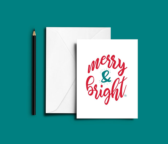 Merry & Bright - Christmas Card (Single or Set of 6)