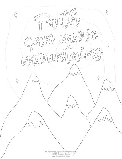 Faith Can Move Mountains Coloring Page