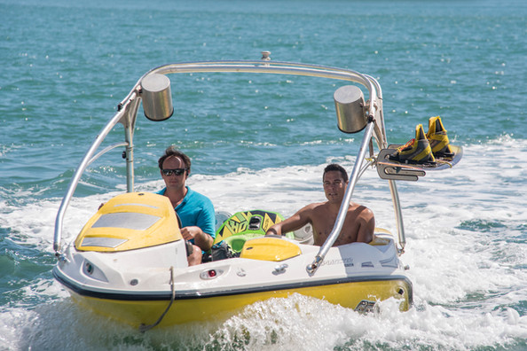 Charlie and Chris with the watersports boat