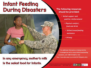 Woman breastfeeding her child attended by National Guardsman