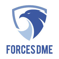 logo of Forces DME, silhouette of an eagle head on a shield