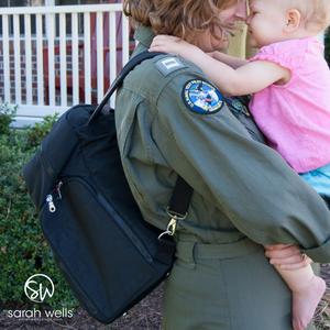 military service member with Sarah Wells Kelly breastpump bag