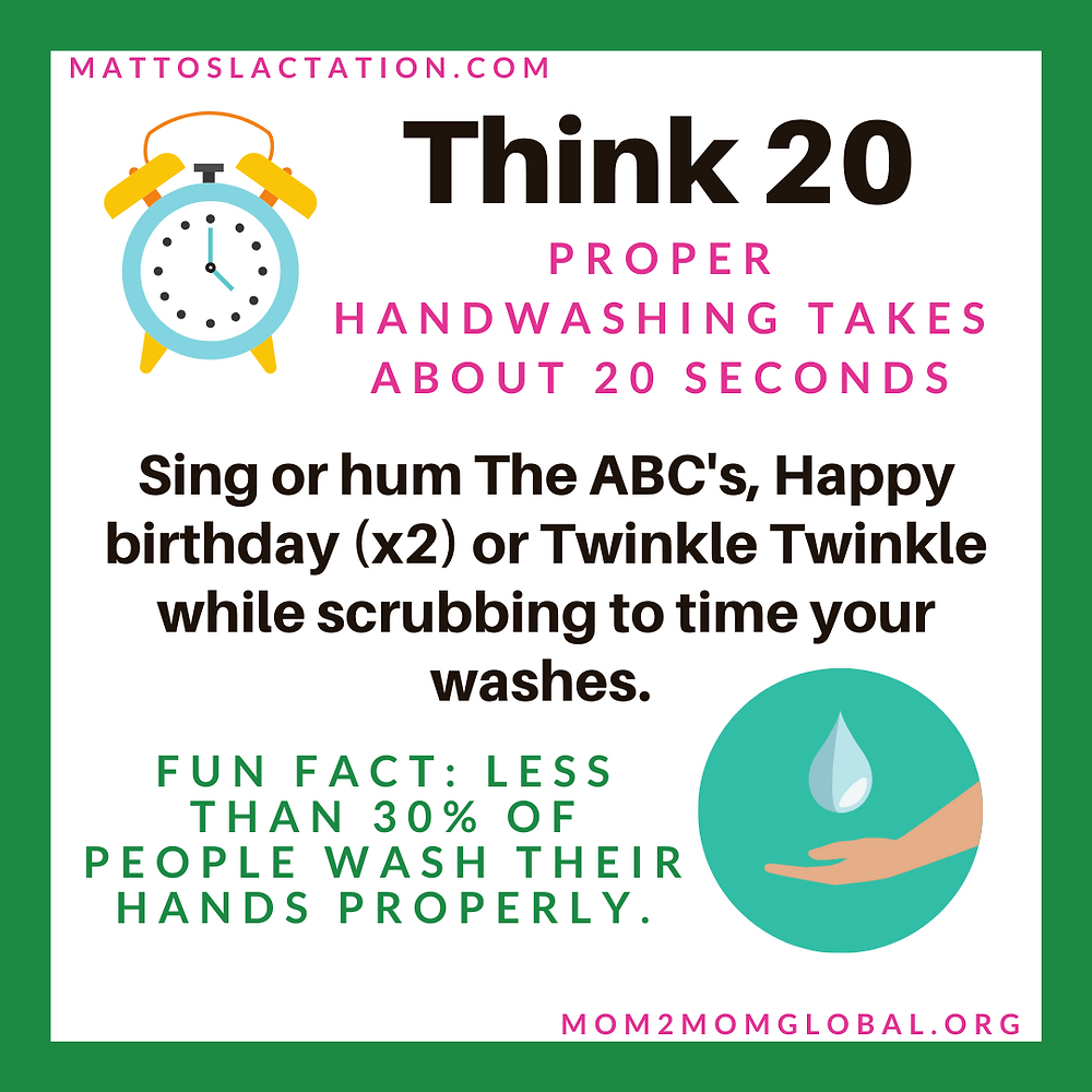Info graphic: Think 20 with an alarm clock. Proper hand washing takes about 20 seconds.  Sing or hum the ABCs, Happy Birthday x2 or Twinkle Twinkle while scrubbing to time your washes.  Fun fact: Less than  30% of people wash their hands properly.  Mattoslactation.com Mom2momglobal.org