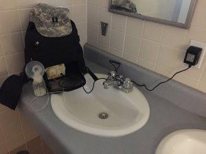 Pumping restroom sink