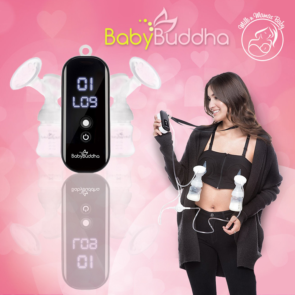 Baby Buddha text over photos of a hands-free electronic breastpump and a photo of a woman using the pump