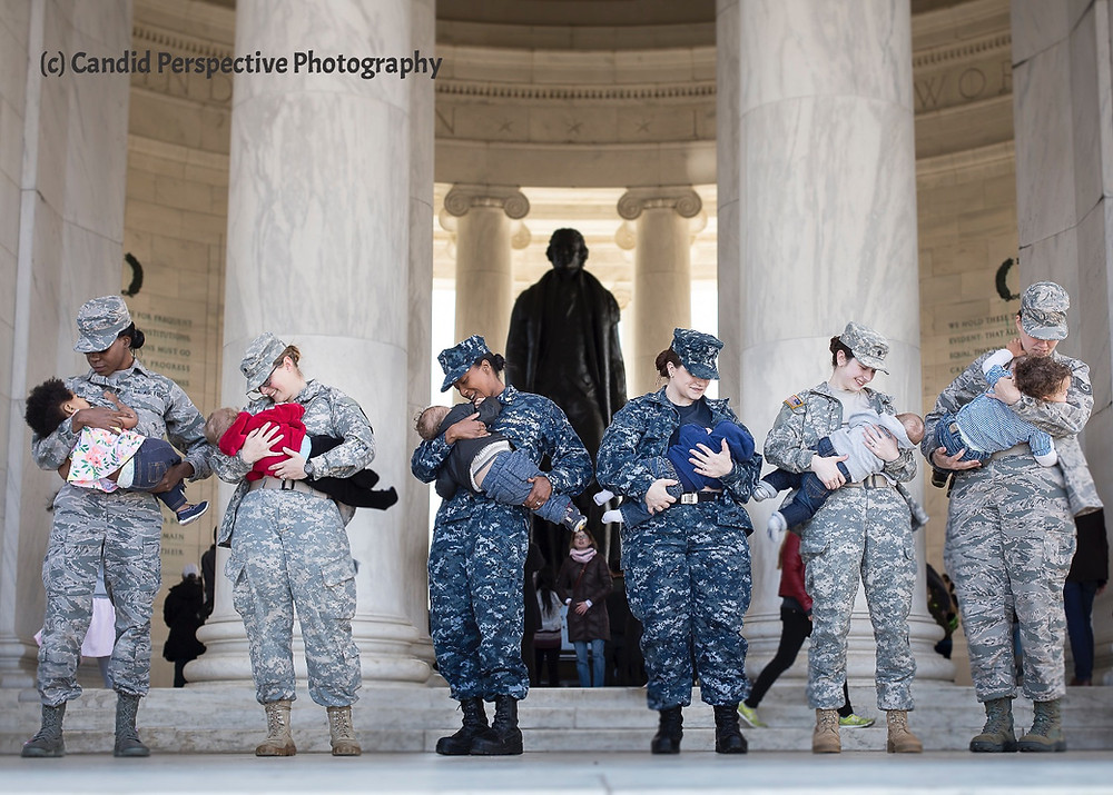 military servicemembers breastfeed at the Jefferson Memorial in Washington DC