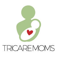 logo for TricareMoms: green person holding the outline of a white baby with a pink heart, above the words TricareMoms