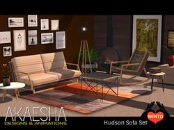 Hudson Living Room Retro Sofa Set
