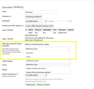 Applying an Umbrella DNS policy to the Meraki 'VIP Umbrella Clients' group policy.