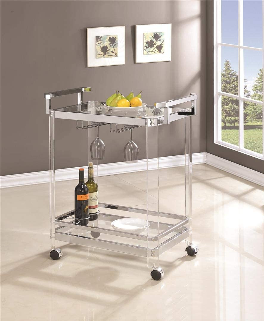 Coaster Furniture CO-902589 Serving Cart, Clear - Includes: One (1) serving cart Top-grade clear acrylic posts Heavy duty steel frame electroplated in chrome Two (2) tiers of clear tempered glass shelves with safety guardrail on bottom shelf Lockable casters for convenient mobility Built-in stemware rack Three (3) bottle wine storage