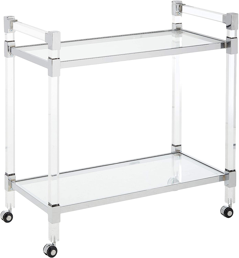 Christopher Knight Home 304602 Hilary Modern Glass Bar Trolley in Clear - This bar trolley is a wonderful addition to any home. Use it to serve your guests dinner without having to balance everything, or you can serve tea for desert in style. The possibilities are only limited to your imagination Featuring tempered glass shelves with a clear plastic frame, this trolley will be a fan favorite for all your events. Hand Crafted Details Hand Crafted Details Dimensions: 17. 25 inches deep x 32. 25 inches wide x 32. 25 inches high 0